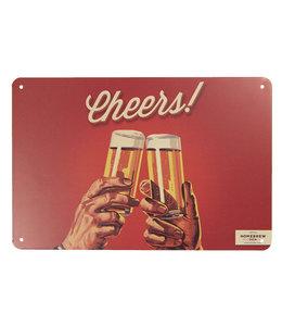 """Deko-Schild """"Cheers!"""" Altrot, Vintage"""