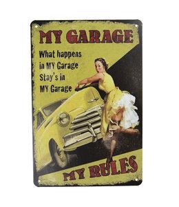 """Deko-Schild """"My Garage - My Rules"""" Vintage"""
