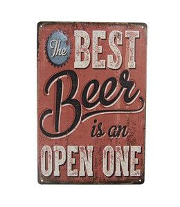 """Schild """"The Best Beer is an open one"""" Vintage"""