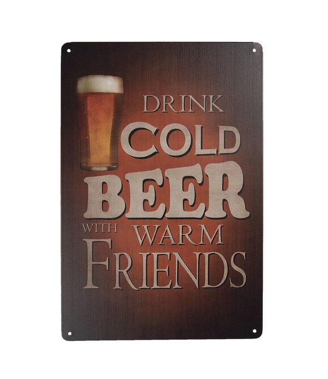 "Deko-Schild ""Trink cold Beer..."" Vintage"