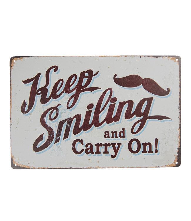 """Deko-Schild """"Keep Smiling"""" Altweiß, Vintage"""