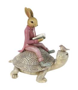 Deko-Schildkröte mit Kaninchen, Vintage