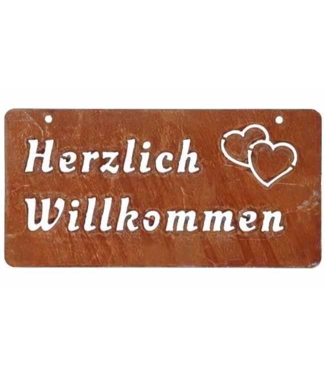 """Kleines Gartenschild Rostig """"Herzlich Willkommen"""" Vintage"""