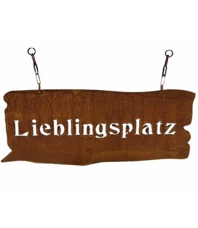 """Gartenschild Rostig """"Lieblingsplatz"""" Vintage"""