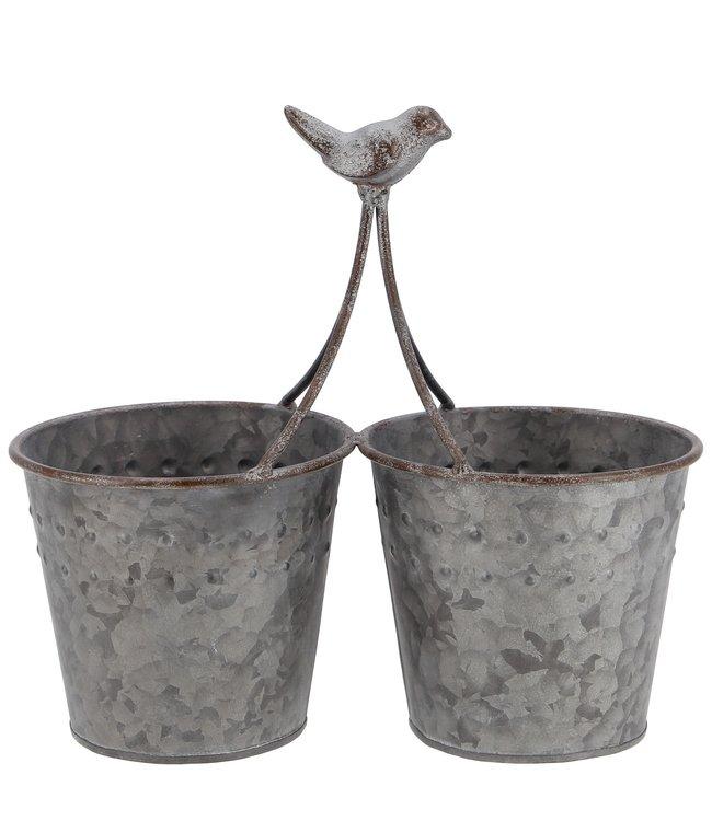 """Blumentöpfe Zink """"Vogelgezwitscher"""" Vintage"""