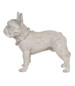 "Deko-Hund ""Bulldogge"" Altweiß, Vintage"