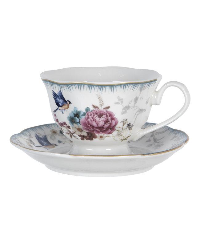 """Kaffeetasse mit Untertasse """"Rosenfaszination"""" Porzellan, Vintage"""
