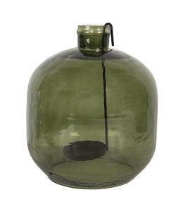 Teelichthalter Glasflasche, Altgrün, Vintage