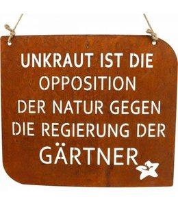 """Gartenschild Rostig """"Unkraut"""" Vintage"""