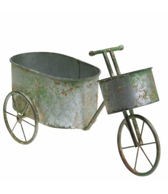 Blumentopf Fahrrad, Zink, Altgrau, Vintage