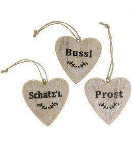 """Dekoherzen 3er-Set """"Schatzl, Bussi, Prost"""" Vintage"""