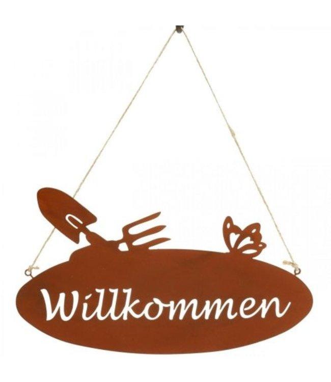 """Gartenschild """"Willkommen"""" Rostig, Vintage"""