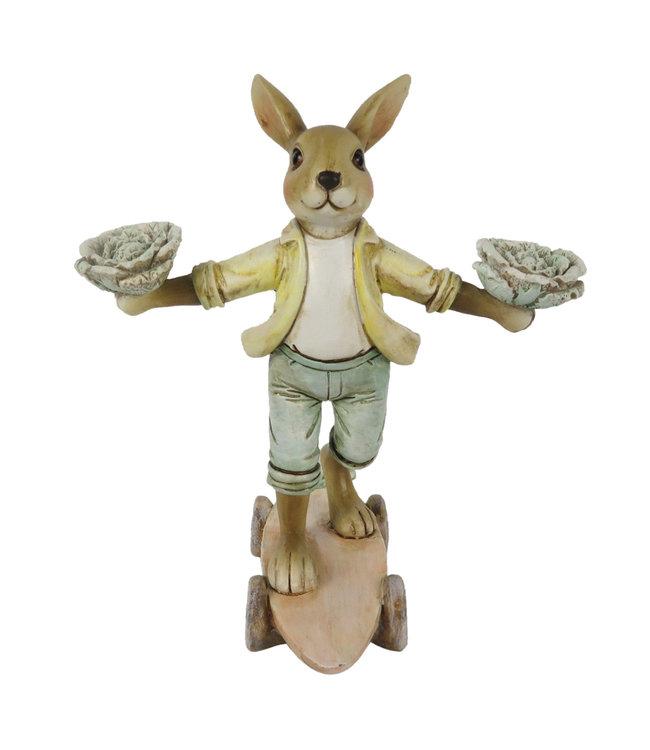 Deko-Kaninchen auf Skateboard, Vintage