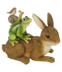 Deko-Hase mit Schildkröte, Frosch, Schnecke & Rotkehlchen
