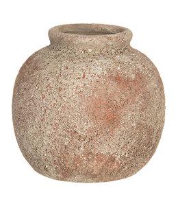 Deko Vase, Keramik, Altbraun, Ø 8x8, Vintage