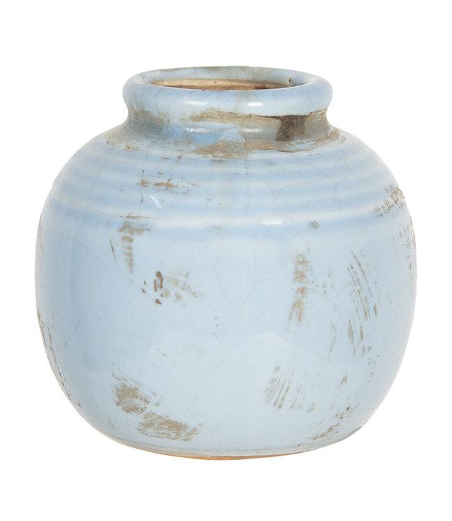Deko Vase, Keramik, Altblau, Ø 8x8, Vintage