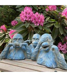 """Deko-Affenset """"Die 3 weißen Affen"""" Altblau, Vintage"""