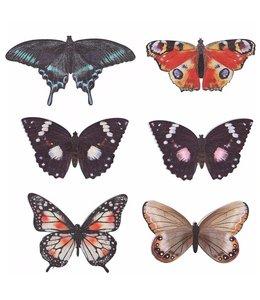 Deko-Schmetterlinge, 6er-Set, Holz, Vintage
