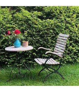 Weishäupl Classic Ausstellungstücke: Gartentisch Schmiedeeisen + 2 Gartenstühle Hochlehner, grün