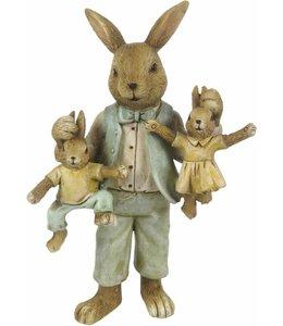 Deko-Hase mit Hasenkindern, Vintage