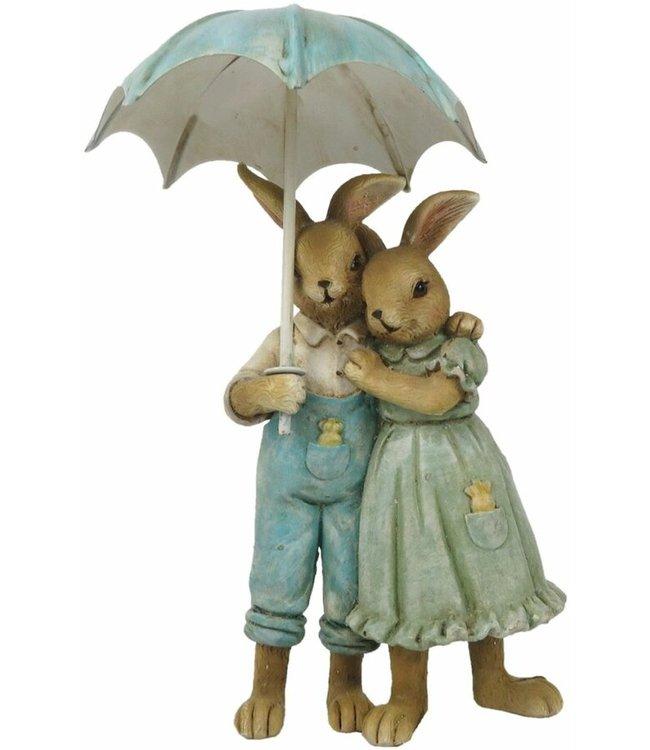 Deko-Kaninchen Paar mit Regenschirm, Vintage