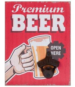 """Deko-Schild """"Premium Beer"""" mit Bieröffner, Vintage"""