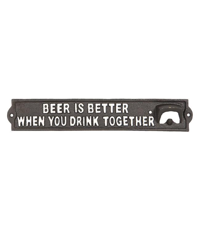 """Deko-Schild mit Bieröffner """"Beer is Better"""" Vintage"""