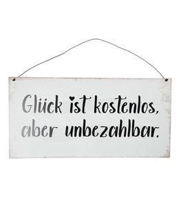 """Deko-Schild """"Glück ist kostenlos aber unbezahlbar"""" Vintage"""