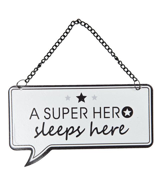 "Deko-Schild ""A SUPER HERO SLEEPS HERE"" Vintage"