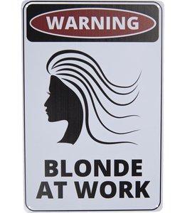 """Blechschild """"WARNING - BLONDE AT WORK"""" Vintage"""
