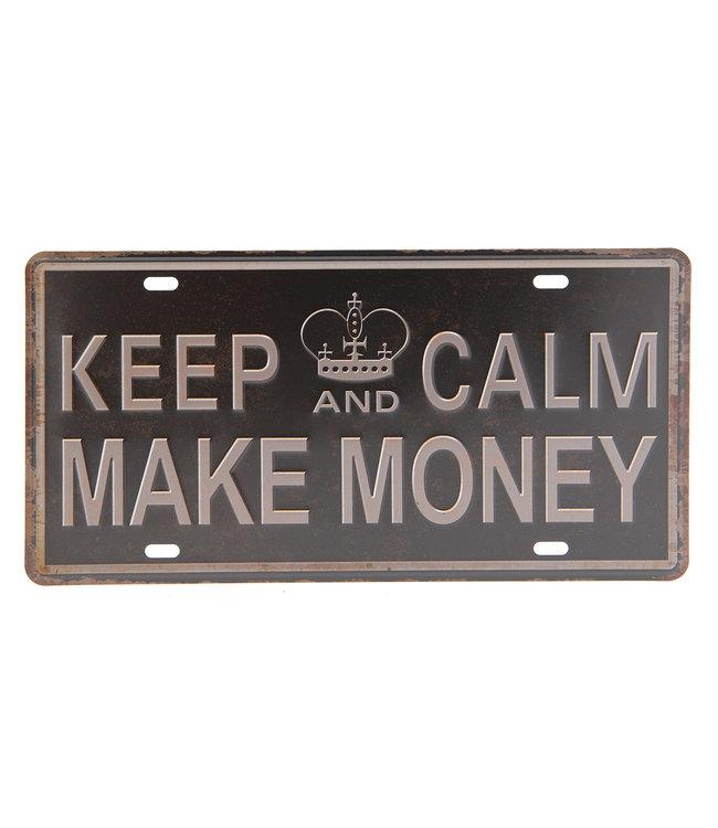 """Deko-Schild """"KEEP CALM - MAKE MONEY"""" Vintage"""