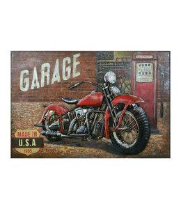 """Wanddeko-Schild """"Garage - Motorrad"""" Vintage 120x80"""