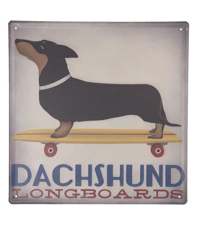 """Deko-Schild """"Dachshund - Longboards"""" Vintage"""