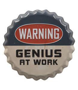 """Deko-Schild """"WARNING - GENIUS AT WORK"""" Vintage"""
