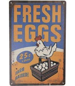 """Blechschild """"Fresh Eggs"""" Vintage"""