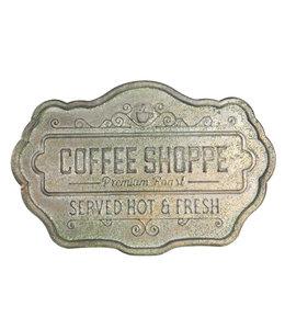 "Blechschild ""Coffee Shoppe"" Altgrün, Vintage"
