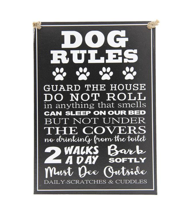 """Deko-Schild zum Aufhängen """"DOG RULES"""" Vintage"""