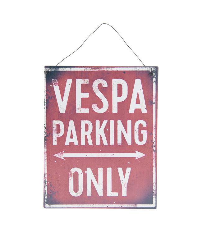 "Blechschild ""VESPA PARKING ONLY"" Altrot, Vintage"