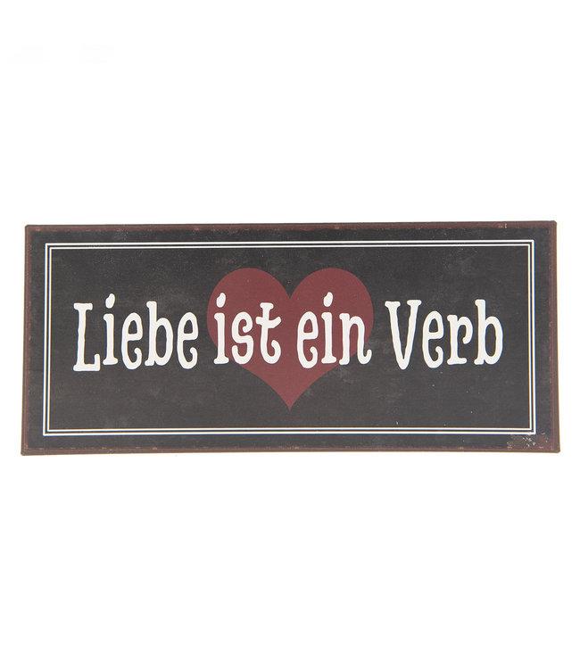 """Deko-Schild """"Liebe ist ein Verb"""" Altbraun, Vintage"""