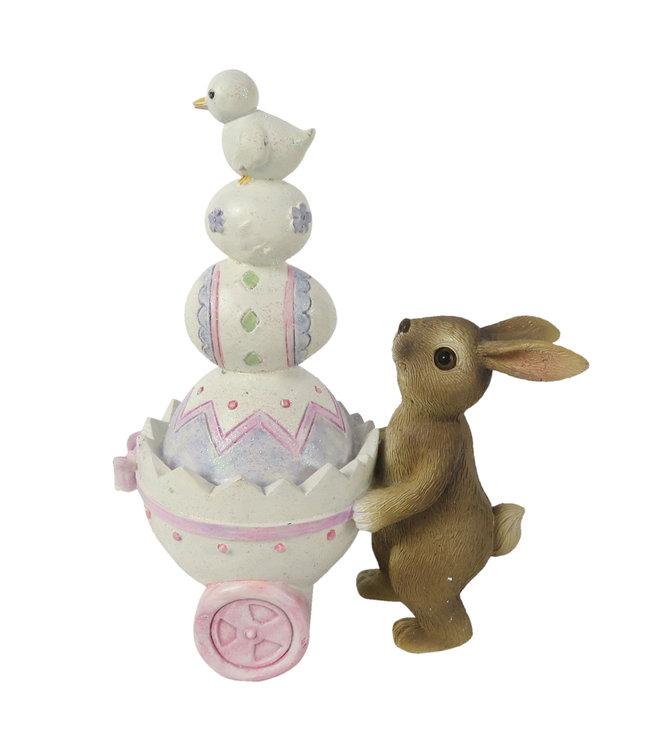 Deko-Hase mit Eierwagen, Vintage