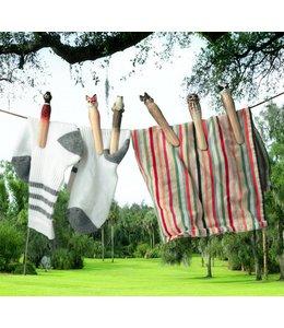 Wäscheklammern mit handgeschnitzten Tieren - Schwedischer Landhausstil