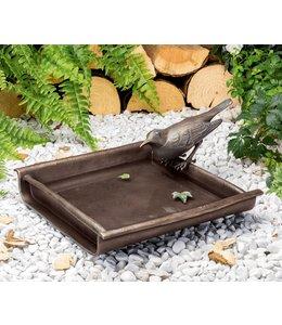 Edition Strassacker Vogeltränke mit Amsel Bronze