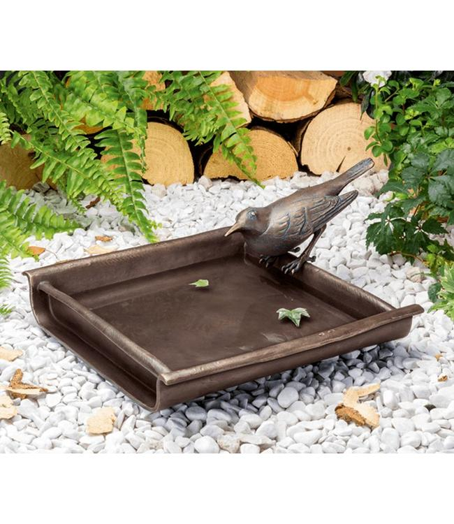 Vogeltränke mit Amsel Bronze