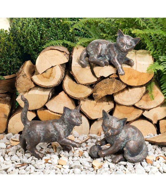 Strassacker Katzen Bronze mit Antik-Patina 3er-Set