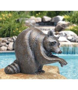 Gartenfiguren Waschbär Bronze
