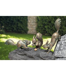 """Gartenfiguren """"3 Eichhörnchen"""" Bronze, Vintage Patina"""