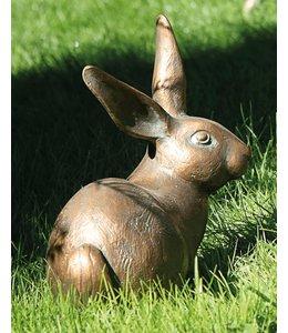 """Gartenfigur """"Hase"""" Bronze, Vintage Patina"""