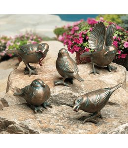 Gartendeko Vintage Spatzen 5er-Set Bronze