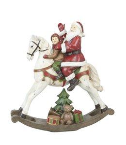 Clayre & Eef Weihnachtsmann auf Schaukelpferd - Englischer Landhausstil