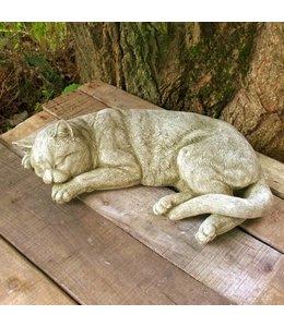 """Gartendeko Vintage Steinfigur """"Schlafende Katze"""" im englischen Landhausstil"""